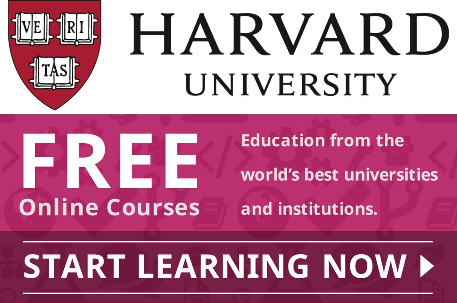 كورسات جامعة هارفارد المجانية عبر الإنترنت 2020 (ممولة بالكامل) (شهادات معتمدة)