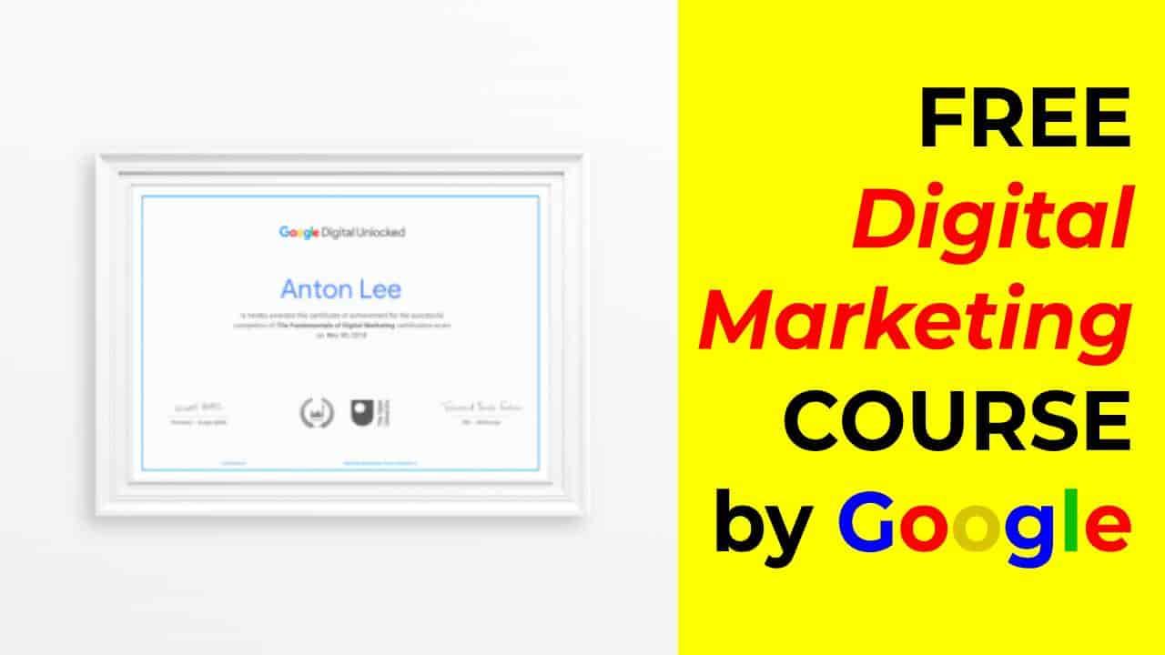دورة التسويق الرقمي المجانية من Google (شهادة مجانية)